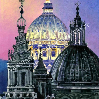 San Pietro tramonto e cupole