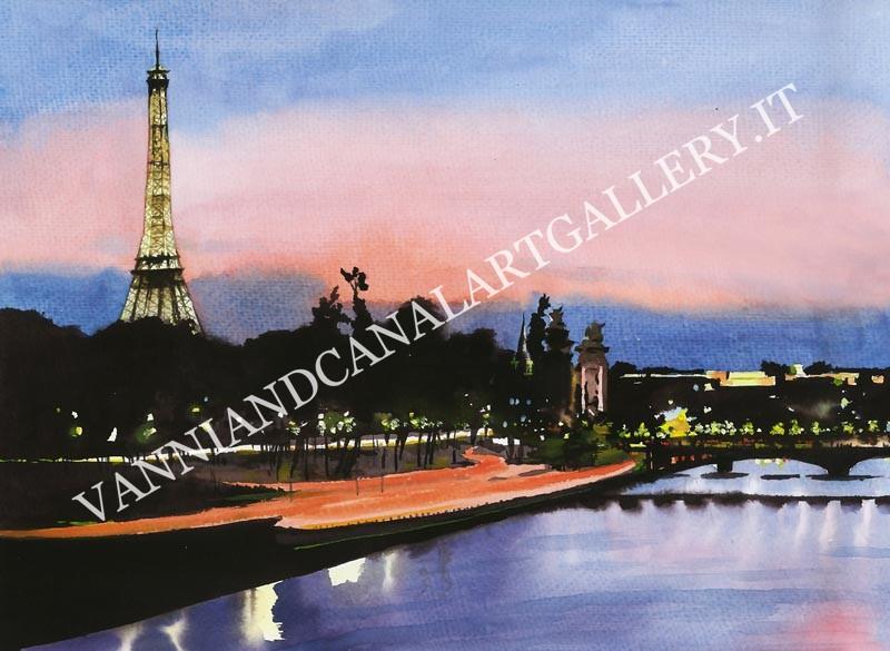 Parigi e Senna di notte