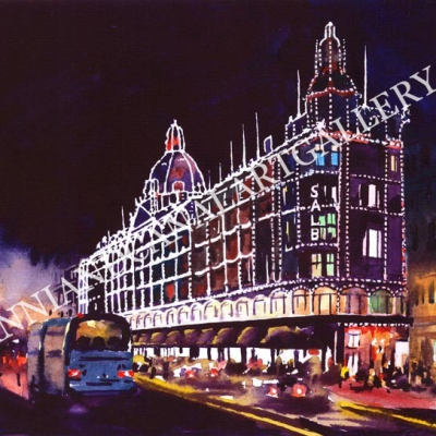 London Harrods at night