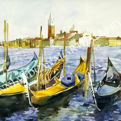 Venezia con gondole e San Giorgio