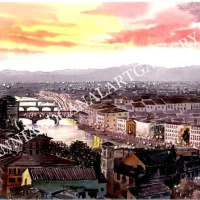 Panorama Ponte Vecchio al tramonto (Firenze)