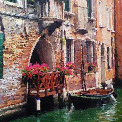 Venezia canale con barca