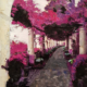 Roma vicolo con fiori di bouganville