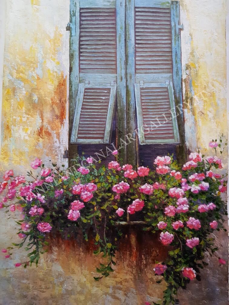 Roma balcone con fiori